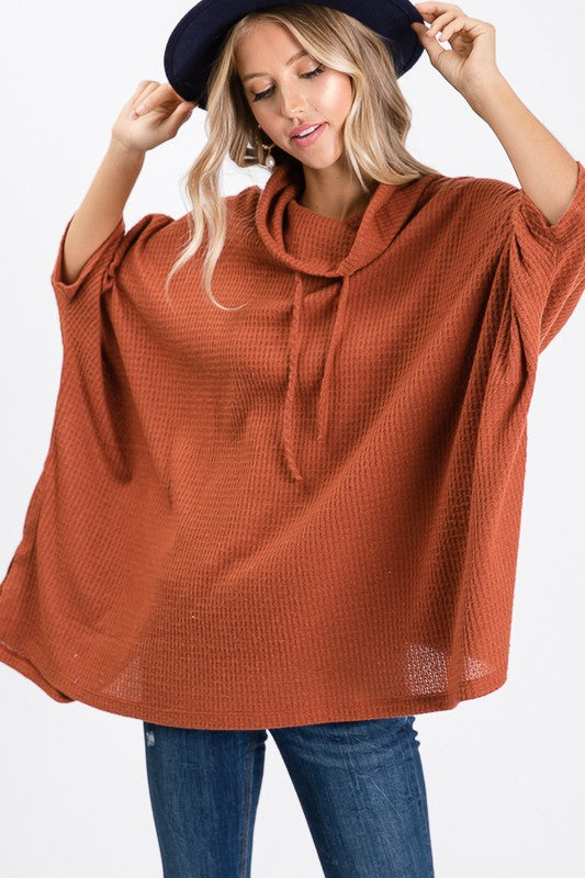 -Red Lolly-Waffle fabric Poncho-RK Collections Boutique