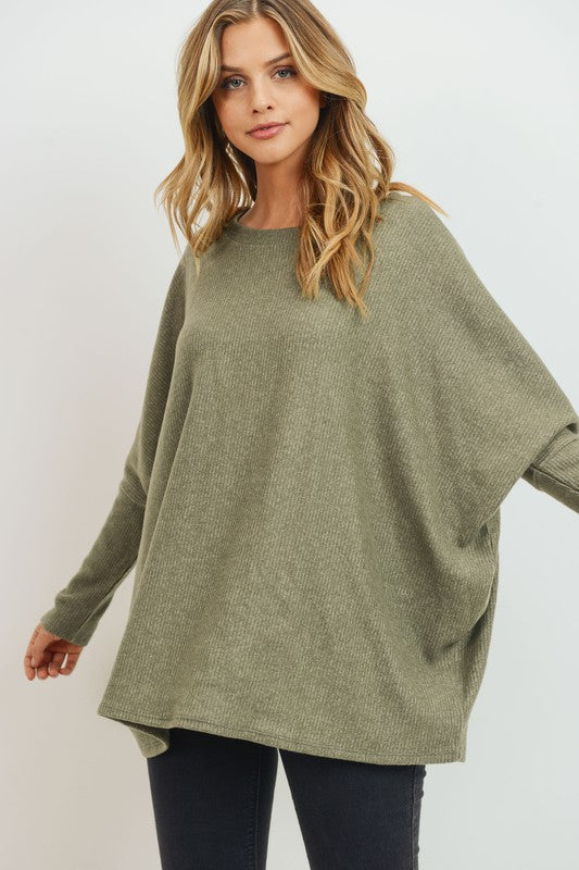 Brushed Rib Knit Pullover Basic Top