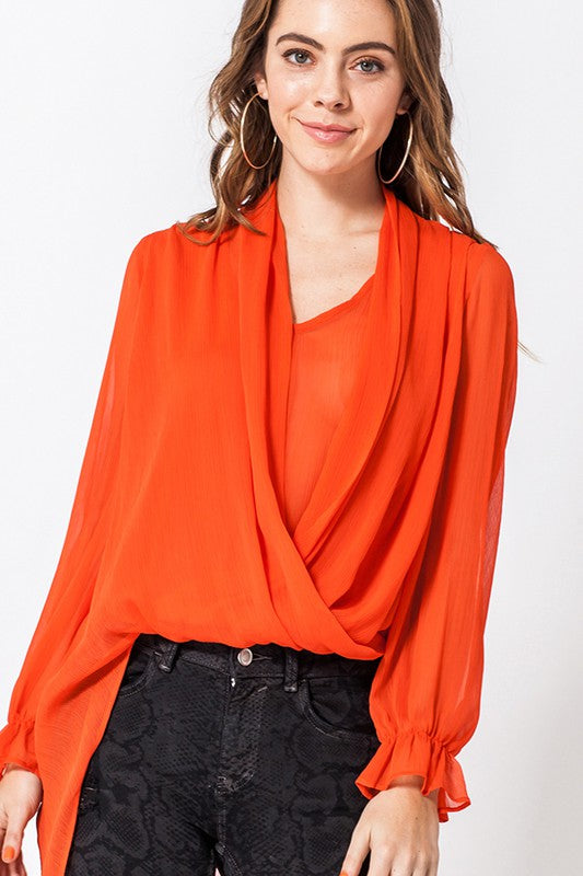 asymmetrical surplice blouse
