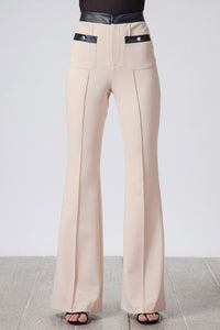 Leather trim flare trouser