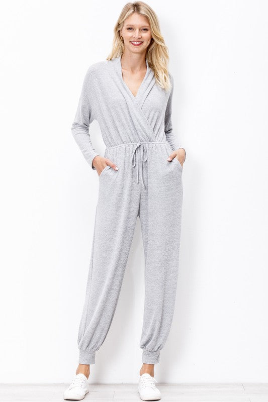 H30160-Mittoshop-Knit wrap front jogger jumpsuit-RK Collections Boutique