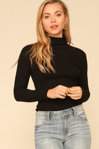 Long sleeve mock neck knit sweater bodysuit