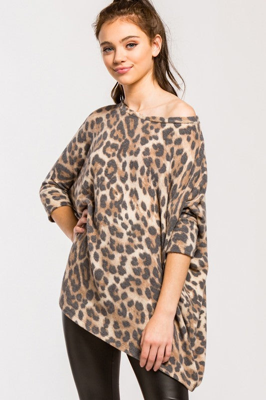 Brushed leopard boxy top