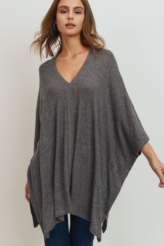 T22043-C-S-Cherish USA-Brushed Rib Knit V Neck Poncho Top-RK Collections Boutique