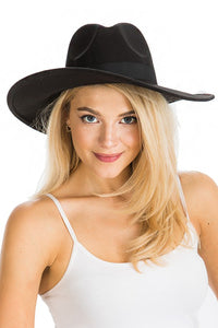 FD-1013-1-Cap Zone-Black Band Wide Brim Panama Fedora-RK Collections Boutique