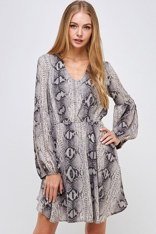 Snakeskin fit and flare chiffon dress