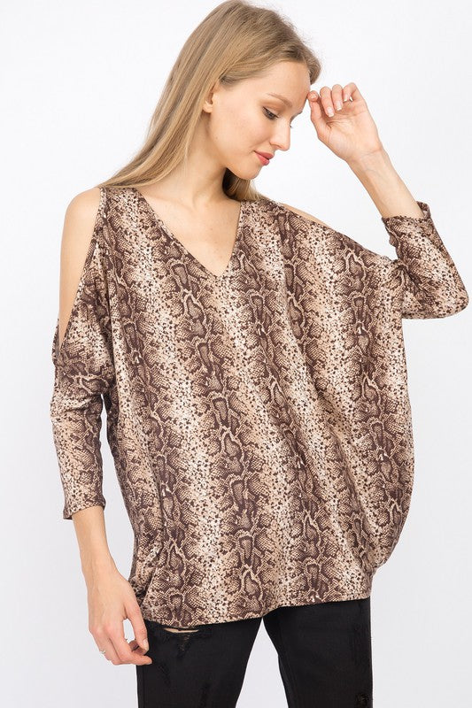 Snakeskin cold shoulder jersey top