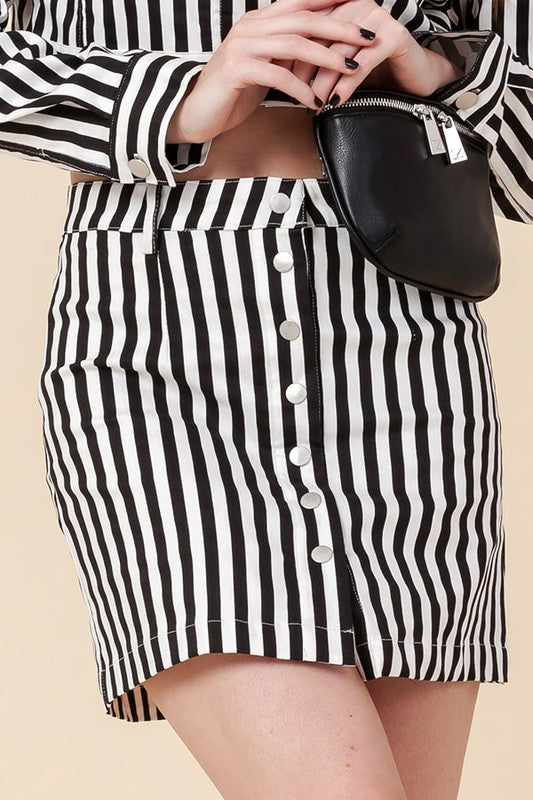 FL20F386-S-Favlux-Vertical Stripe Mini Skirt-RK Collections Boutique