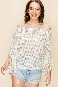 FL20E110-S-Favlux-Polka dot off the shoulder blouse-RK Collections Boutique