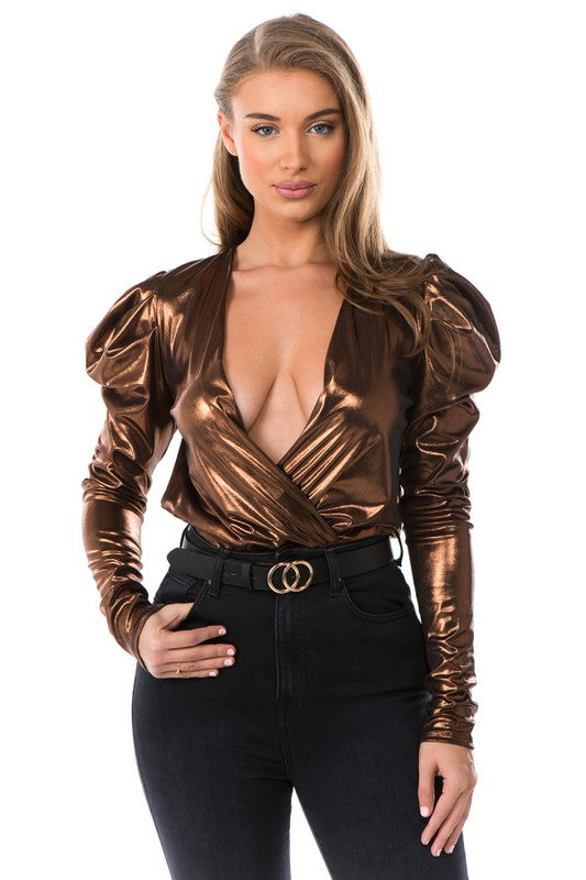 Metallic puff sleeve surplice bodysuit