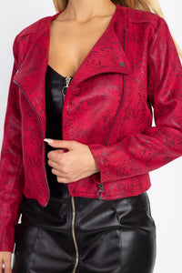 OJ3730-1-Fashion USA-Snakeskin Faux leather Moto Jacket-RK Collections Boutique