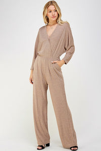 Lurex sparkle surplice jumpsuit
