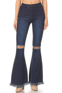 GP3323-S-JC & JQ-High waist bell bottom jeans with rip & fray-RK Collections Boutique
