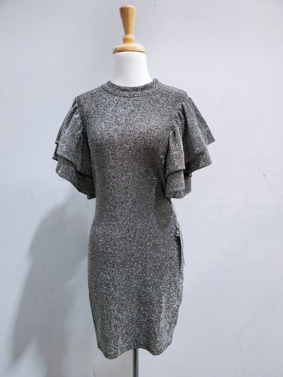 Lurex metallic bodycon dress with ruffle sleeves