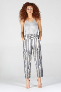 25R52-RK21-1-Angie-Double belt high waist stripe pants-RK Collections Boutique