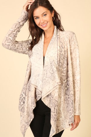 Brushed snakeskin sweater cardigan
