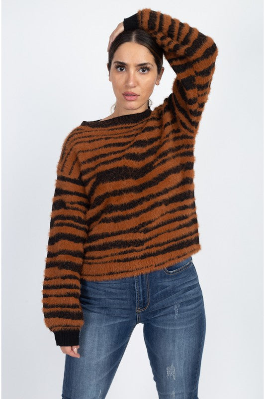Tiger Print Fuzzy Sweater