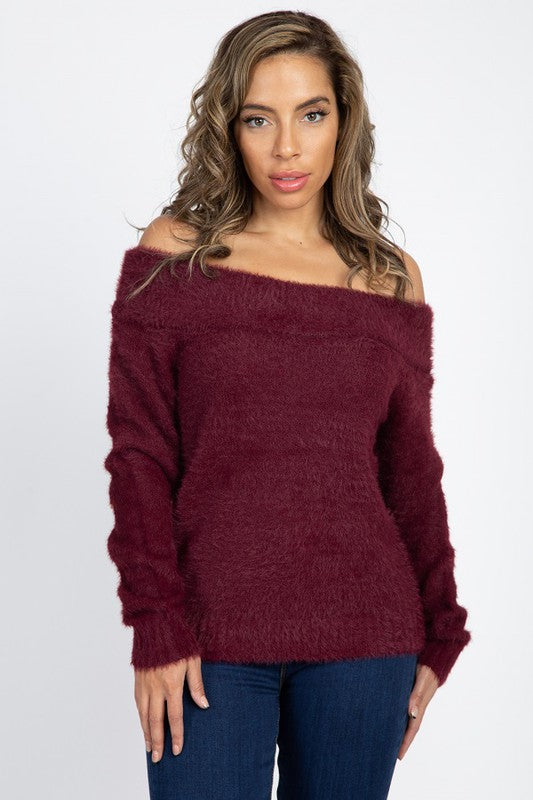 OSW9471-1-Fashion USA-Off The Shoulder Fuzzy Sweater-RK Collections Boutique