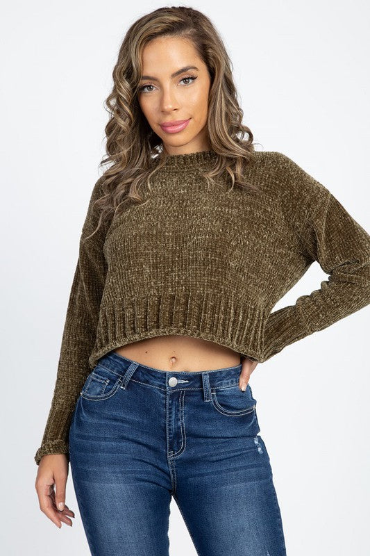 ISW1718A-7-Iris-Chenille crop sweater-RK Collections Boutique