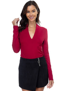 -Fashion USA-ribbed v-neck long sleeve top-RK Collections Boutique