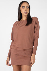 ID4244-7-Fashion USA-Off One Shoulder Ribbed Dolman Dress-RK Collections Boutique
