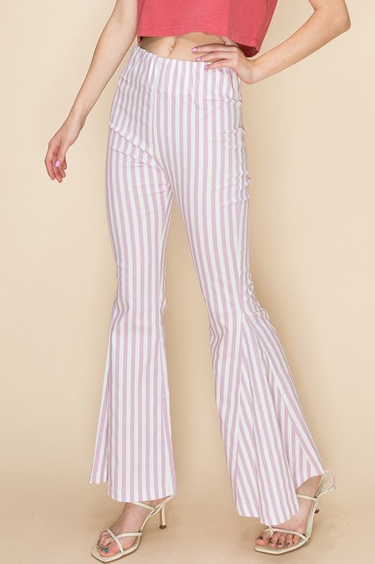 Vertical stripe high waist bell bottom pants