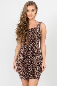 Leopard Printed Mini Bodycon Dress