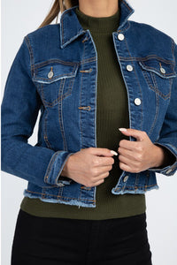 -Fashion USA-Jean Jacket with Fray Hem-RK Collections Boutique