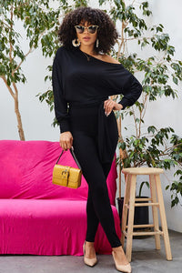 off the shoulder legging jumpsuit