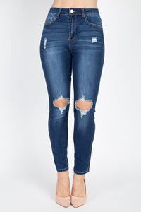 OP5550-1-Fashion USA-Distressed High Rise Skinny Jeans-RK Collections Boutique