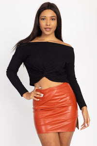 Twist Front Off The Shoulder Ribbed Crop Top