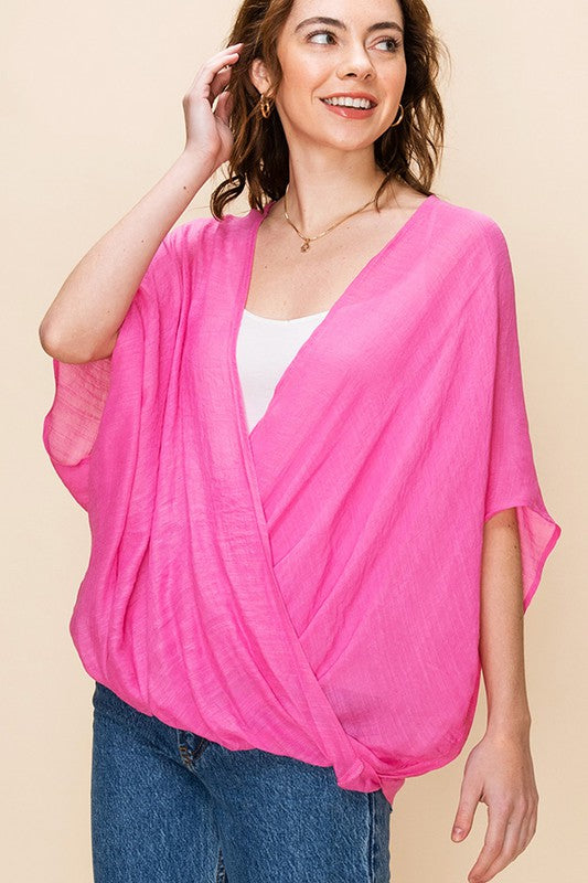FL19F285-1-Favlux-Crossover poncho blouse-RK Collections Boutique