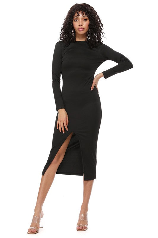 Bodycon Long Sleeve Open Back Split Midi Dress