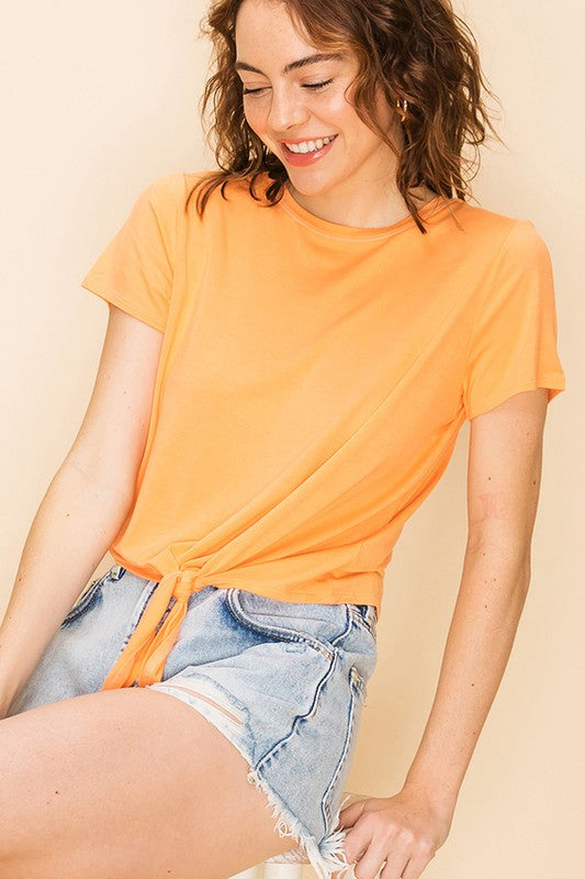 DZ20E340-1-Double Zero-tie front short sleeve crop tee-RK Collections Boutique