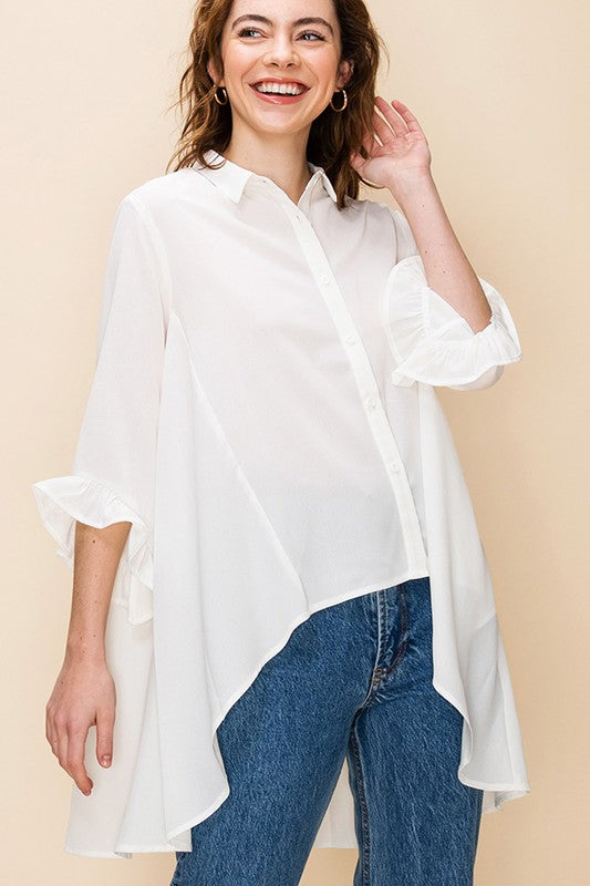High low button down top with ruffle sleeve