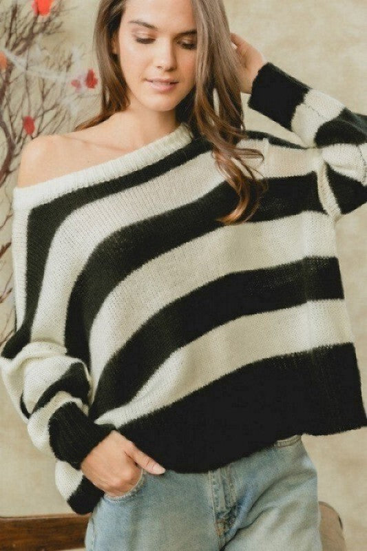 AT03401-2-1-Lumiere-Drop Shoulder Striped Knit Sweater-RK Collections Boutique