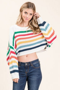 NT18615-1-1-Lumiere-Cropped Rainbow Multi Striped Knit Sweater-RK Collections Boutique