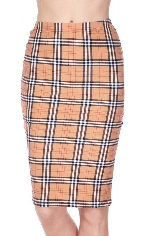 burberry inspired plaid jersey pencil skirt