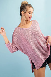 Loose knit 3/4 sleeve sweater