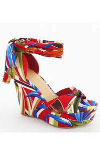 tropical print wedge