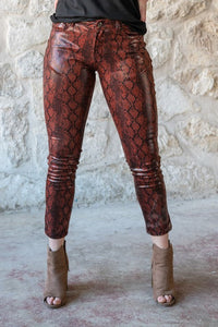 Glossy Faux Leather Snakeskin Skinny Jean