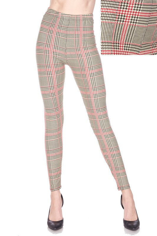 Glen Plaid Brush Printed Leggings
