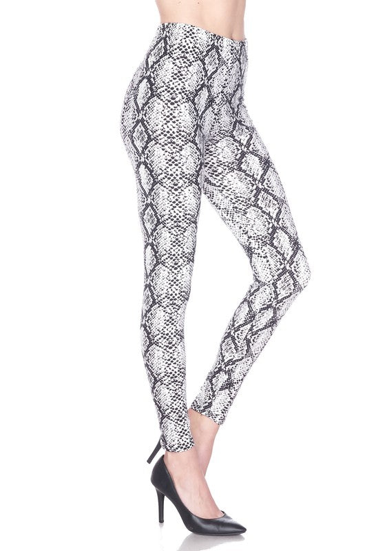 Diamond Snake Skin Brush Printed Leggings