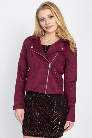 OJ00170-1-Fashion USA-Suede motorcycle jacket-RK Collections Boutique