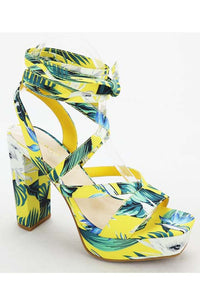 Tropical print chunky high heel tie up sandal