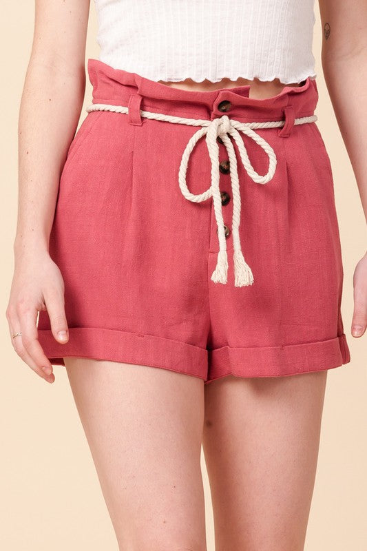 Button front shorts with rope belt