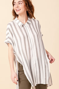 FL20G007-4-Favlux-Vertical stripe woven button up tunic-RK Collections Boutique