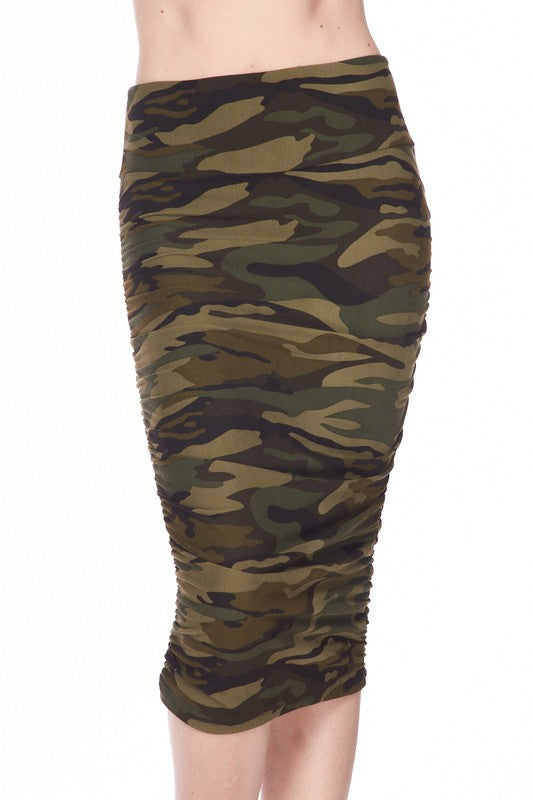 High Waist Camouflage Ruched Pencil Skirt