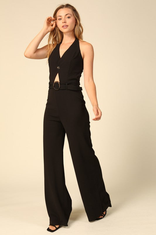 Halter jumpsuit with buckle detail