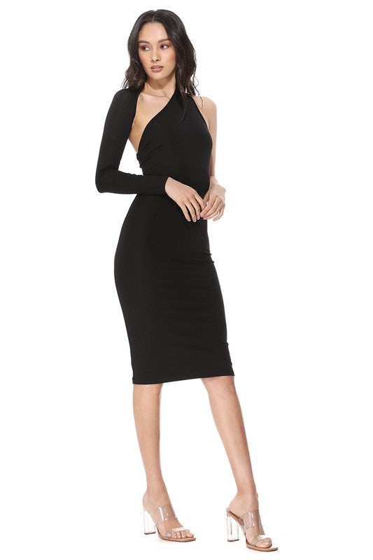 Asymmetric Cut One-sleeve Midi Dress